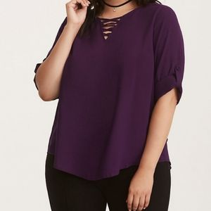Torrid Challis Strappy Front Pullover Top